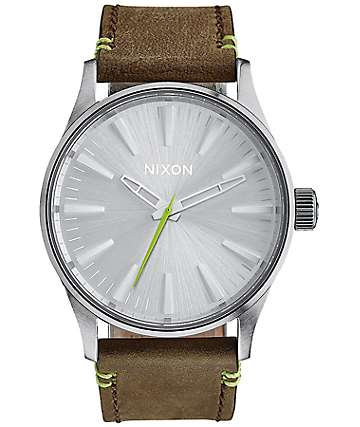 Nixon Sentry 38 Leather Brown & Lime Analog Watch