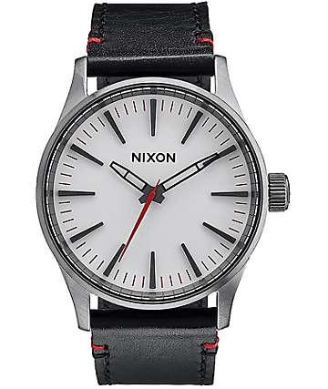 Nixon Sentry 38 Leather Gunmetal & White Analog Watch
