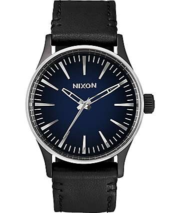 Nixon Sentry 38 Leather Ombre reloj en negro y azul