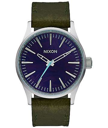 Nixon Sentry 38 Leather Purple & Olive Analog Watch
