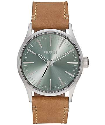 Nixon Sentry 38 Leather Saddle & Sage Analog Watch