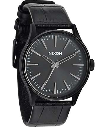 Nixon Sentry 38 Leather reloj analógico en negro