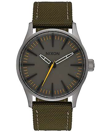 Nixon Sentry 38 Nylon Surplus & Brown Watch