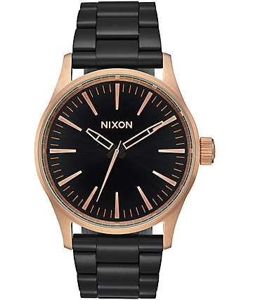 Nixon Sentry 38 SS Black & Rose Gold Analog Watch