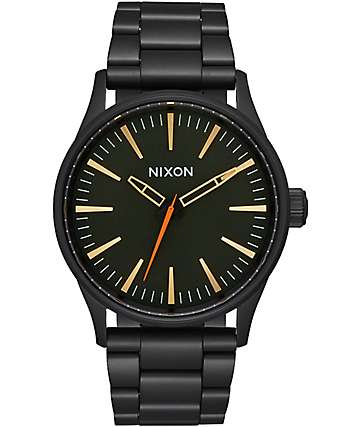 Nixon Sentry 38 SS Black & Surplus Analog Watch
