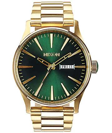 Nixon Sentry 38 SS Gold & Green Watch