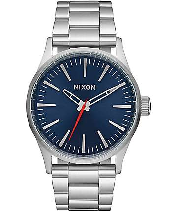 Nixon Sentry 38 SS Silver & Blue Sunray Analog Watch
