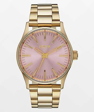Nixon Sentry 38 SS reloj en oro claro y rosa