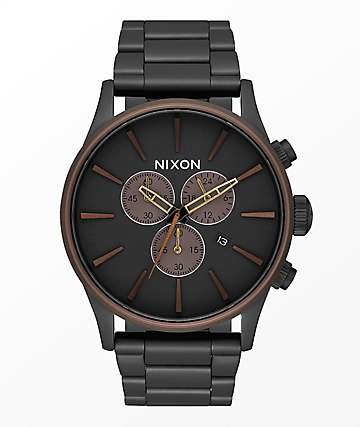 Nixon Sentry Black, Brown & Brass Chronograph Watch