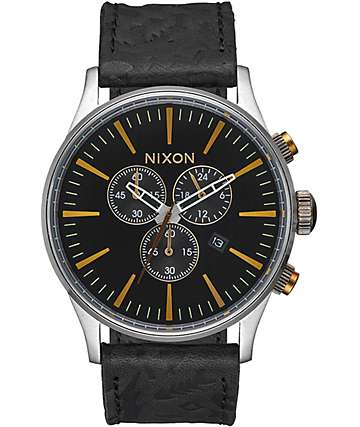 Nixon Sentry Black & Brass Chronograph Leather Watch