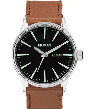 Nixon Sentry Brown Leather Watch
