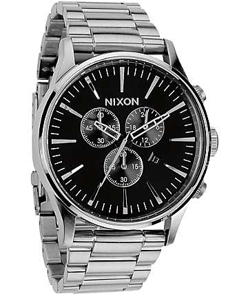Nixon Sentry Chrono Black & Silver Analog Watch