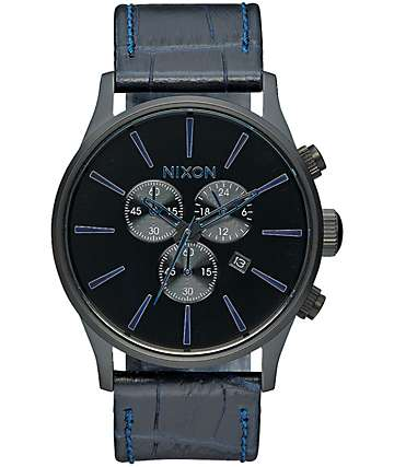Nixon Sentry Chrono Leather Analog Watch
