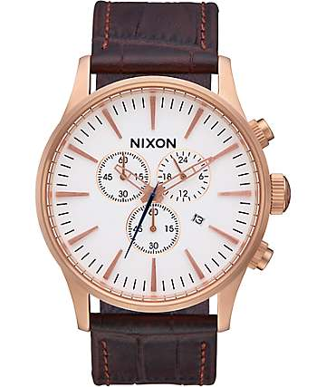 Nixon Sentry Chrono Leather Rose Gold & Brown Gator Analog Watch