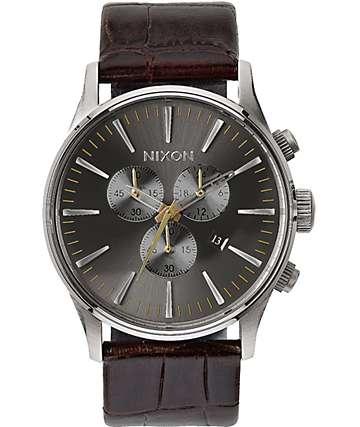 Nixon Sentry Chronograph Leather Analog Watch