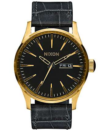 Nixon Sentry Leather Analog Black Gator Watch