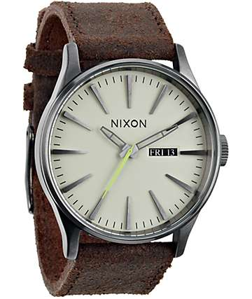 Nixon Sentry Leather Analog Gunmetal Watch