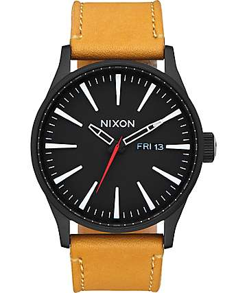 Nixon Sentry Leather Black & Goldenrod Analog Watch