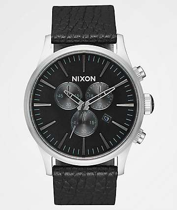 Nixon Sentry Leather Black & Gunmetal Chronograph Watch