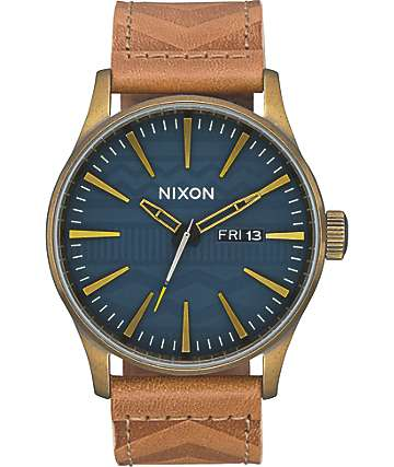 Nixon Sentry Leather Brass & Navy Analog Watch