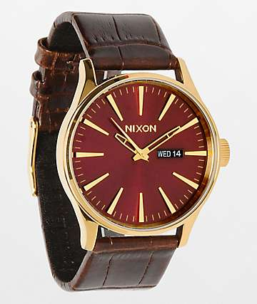 Nixon Sentry Leather reloj analógico marrón