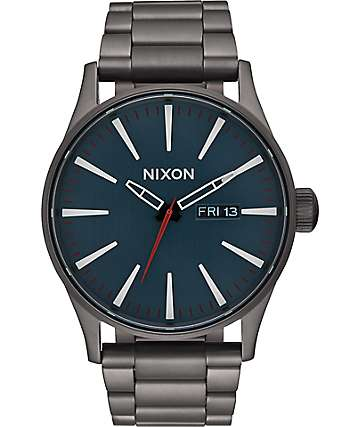 Nixon Sentry SS All Gunmetal & Dark Blue Watch