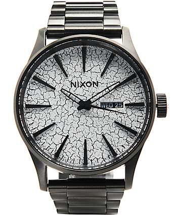 Nixon Sentry SS Black & Crackle Analog Watch