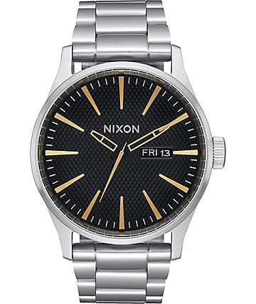 Nixon Sentry SS Black Stamped & Gold Analog Watch