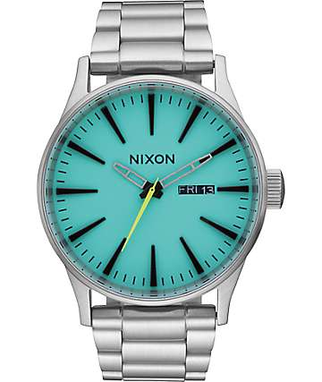 Nixon Sentry SS Seafoam Lum Analog Watch