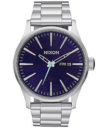 Nixon Sentry SS Silver & Purple Analog Watch