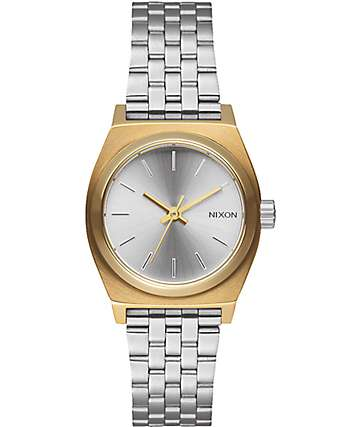 Nixon Small Time Teller Gold & Silver Watch
