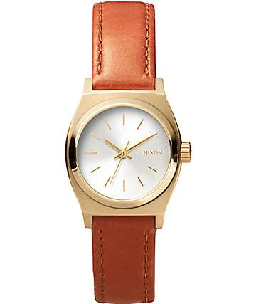 Nixon Small Time Teller Leather Watch