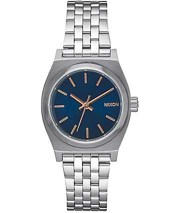 Nixon Small Time Teller Silver, Navy & Rose Gold Watch