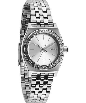 Nixon Small Time Teller Silver & Crystal Watch
