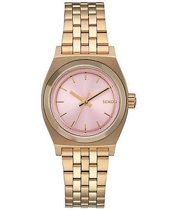 Nixon Small Time Teller reloj en oro y rosa