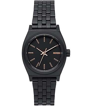 Nixon Small Time Teller reloj todo negro y oro rosa