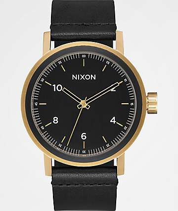 Nixon Stark Leather All Black & Gold Watch