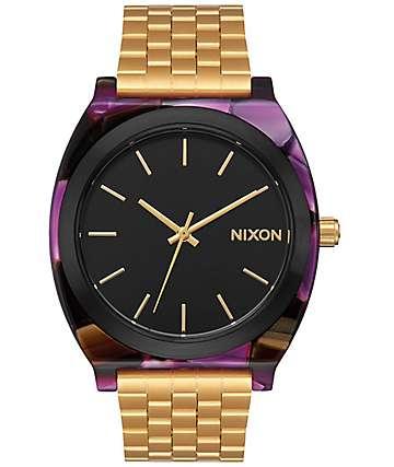 Nixon Time Teller Acetate reloj en color oro y multi