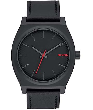 Nixon Time Teller All Black Stamped Leather Analog Watch