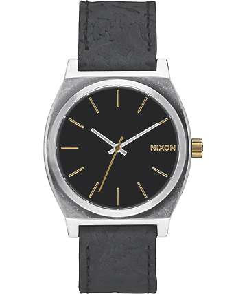 Nixon Time Teller Black & Brass Leather Watch