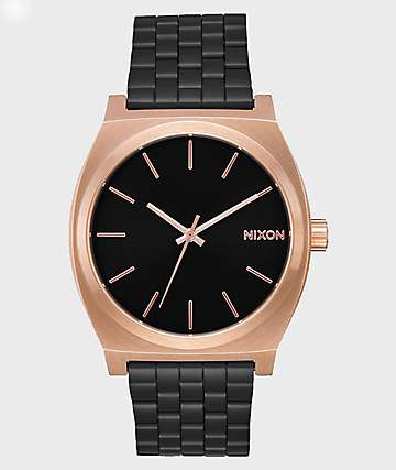 Nixon Time Teller Black & Rose Gold Analog Watch