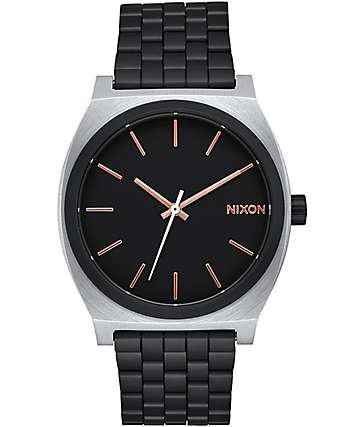 Nixon Time Teller Black and Rose Gold Caliber Watch