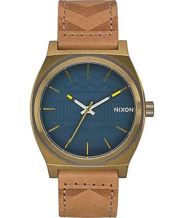 Nixon Time Teller Leather reloj en colores latón y azul marino