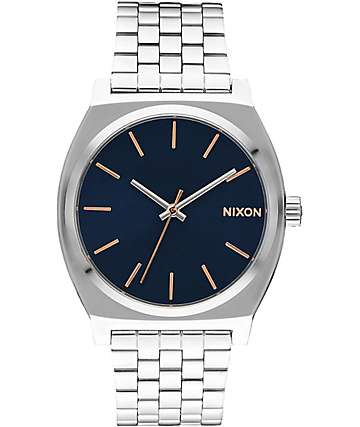 Nixon Time Teller Navy & Rose Gold Watch