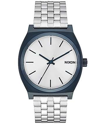 Nixon Time Teller Navy & Silver Analog Watch