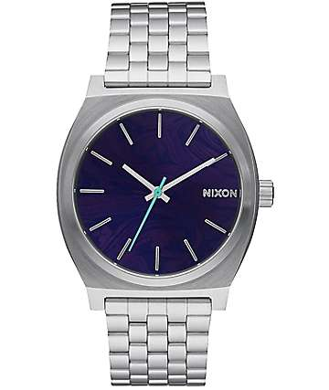 Nixon Time Teller Silver & Purple Analog Watch