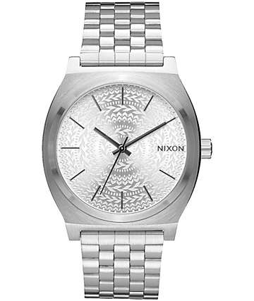 Nixon Time Teller Silver Stamped Watch