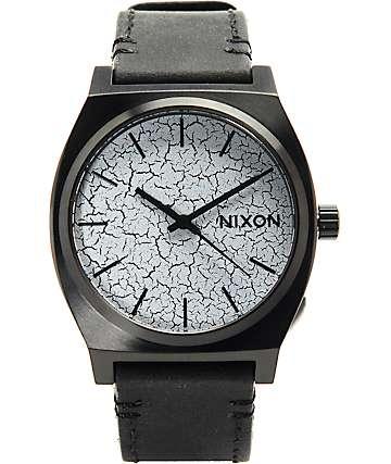 Nixon Time Teller reloj análogo negro cuero crepitaba