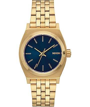 Nixon Time Teller reloj analógico en colores oro claro y cobalto