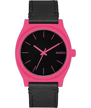 Nixon Time Teller reloj analógico en negro y rosa